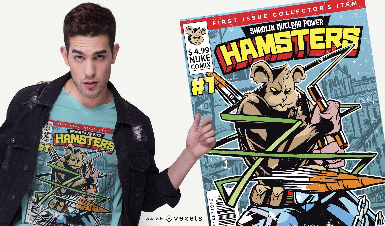Design de camiseta de Hamster em quadrinhos