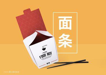 Maqueta de envasado de comida china psd
