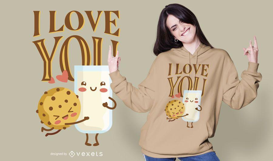 Design de t-shirt de amantes de comida