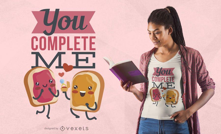 Diseño de camiseta de comida de san valentín