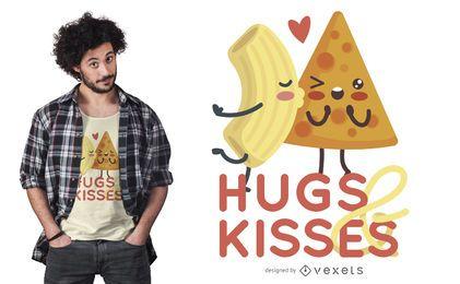 Diseño de camiseta de pareja de comida