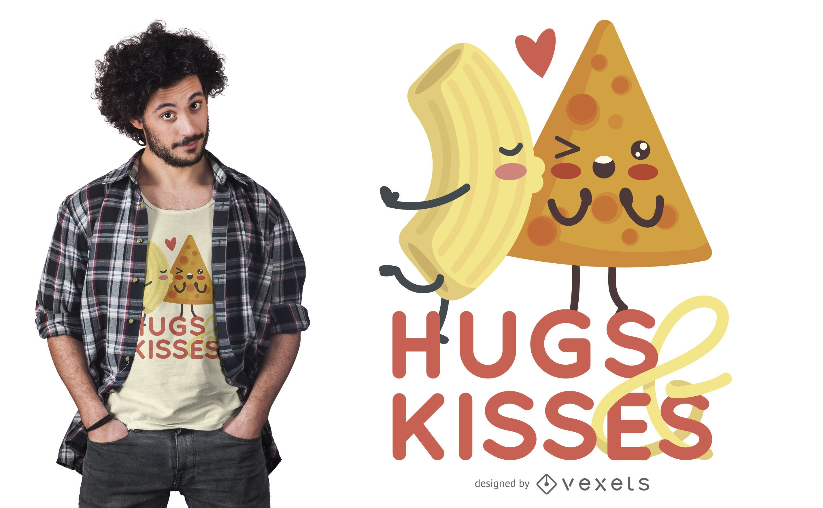 Design de camisetas para casais de comida