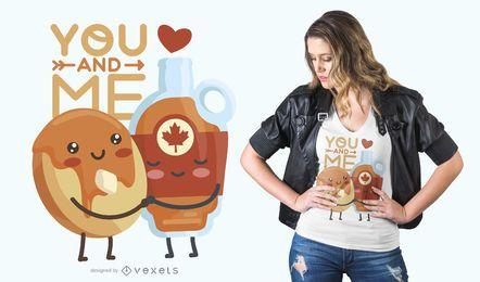 Design de t-shirt de casal de comida para namorados