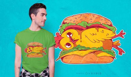 Design de t-shirt de hambúrguer de frango