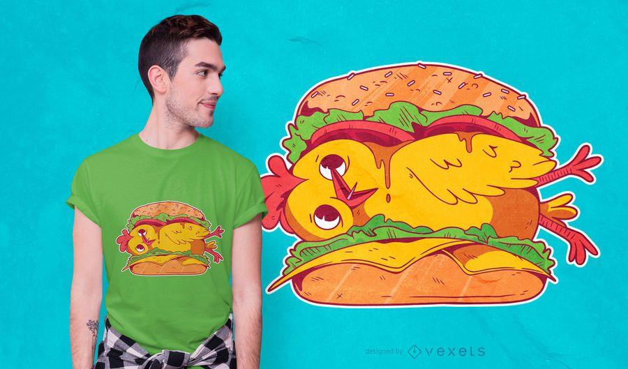 Diseño de camiseta de hamburguesa de pollo