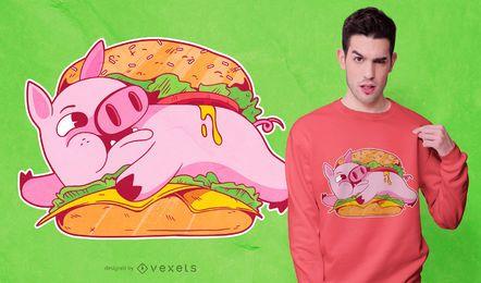 Diseño de camiseta de cerdo hamburguesa