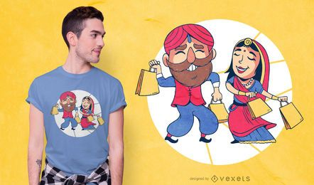 Indisches Paar-Einkaufen-T-Shirt Design