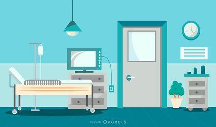 Diseño gráfico de la sala de hospital