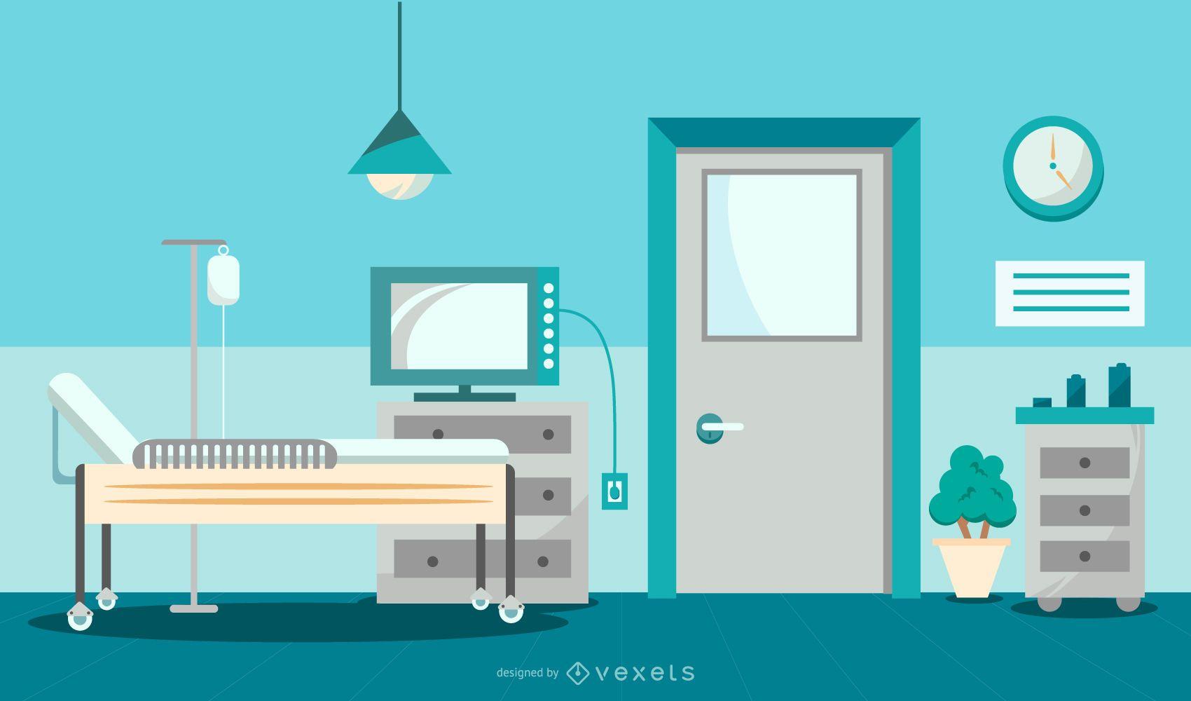 Diseño gráfico de habitación de hospital