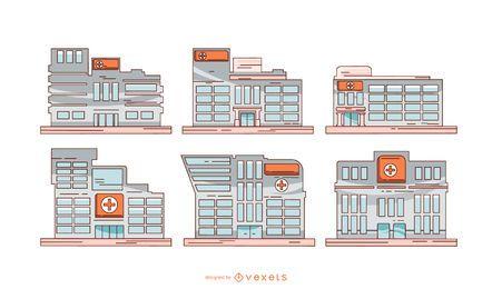 Conjunto de ilustração de edifícios de hospital
