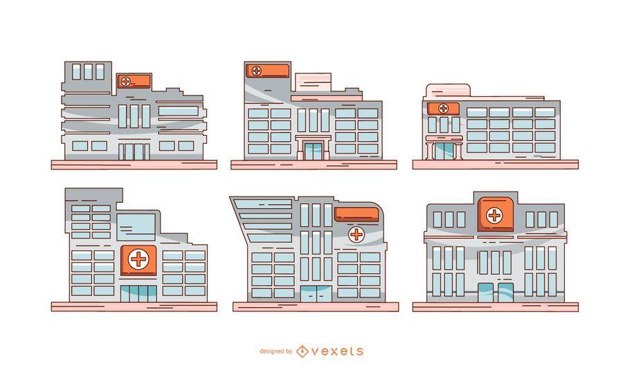 Conjunto de ilustração de edifícios de hospitais