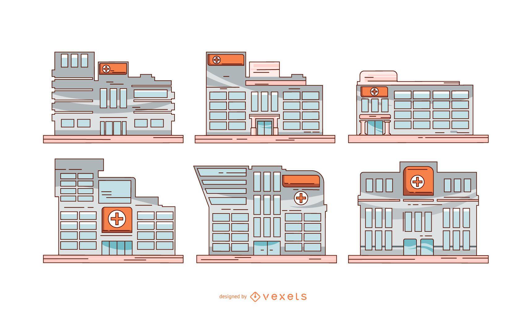 Conjunto de ilustración de edificios hospitalarios