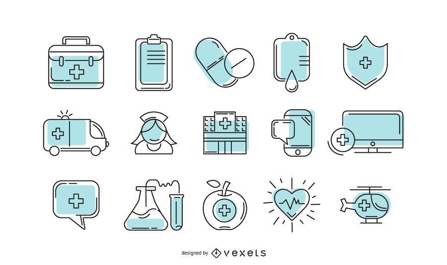 Coleção de ícone de hospital