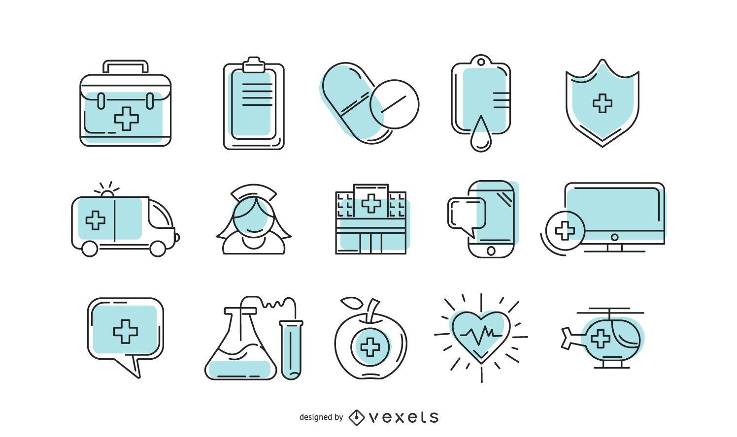 Colección de iconos de hospital
