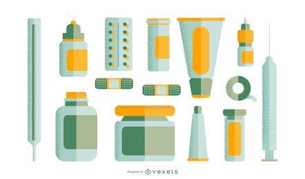 Conjunto de medicamentos de farmácia plana