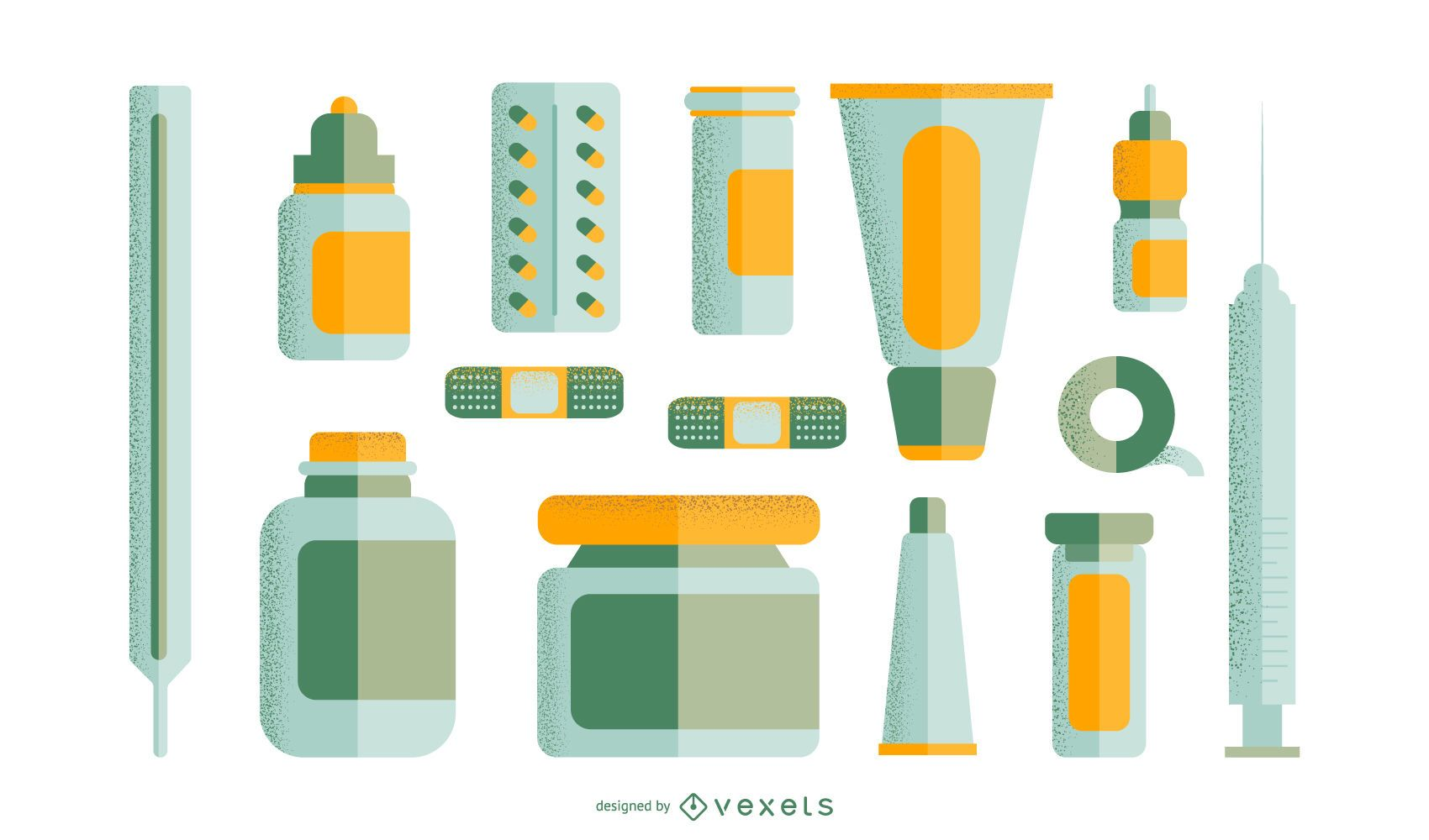 Conjunto plano de medicamentos de farmacia