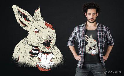 Diseño de camiseta de conejito de terror