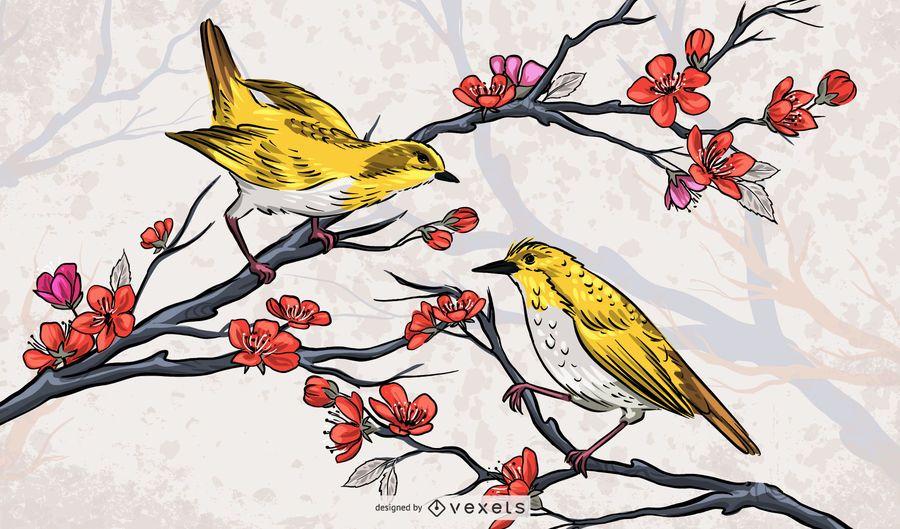 Beautiful Chinese Birds Illustration