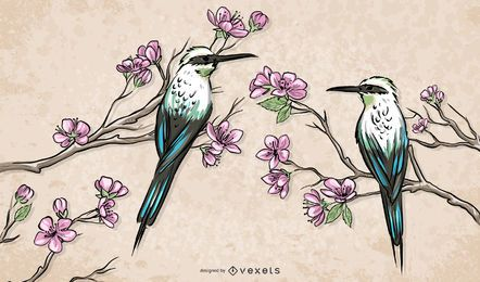 Chinese Birds Standing on Branches Illustration