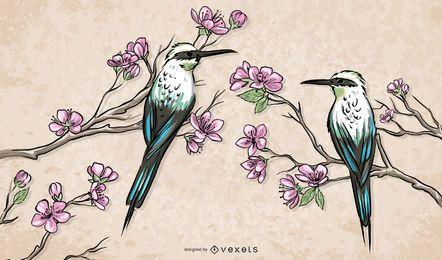 Pássaros chineses em pé na ilustração de ramos