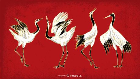 Conjunto de ilustração de pássaro de guindaste