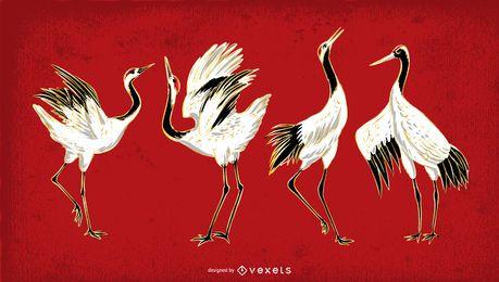 Kran Vogel Abbildung festgelegt