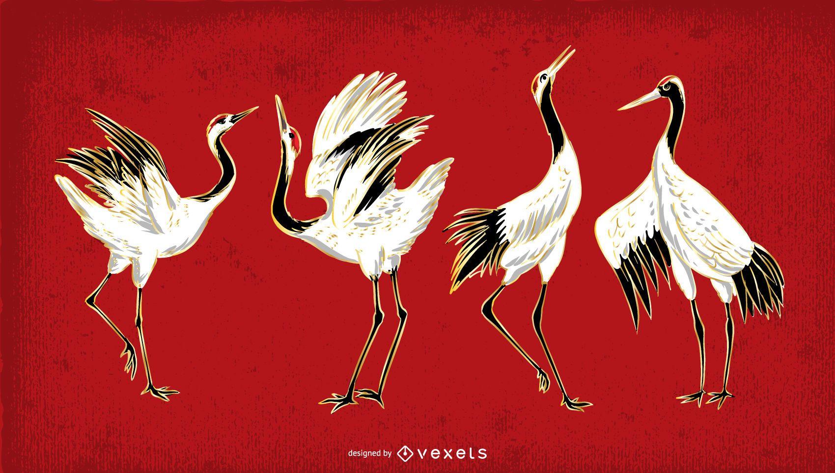 Conjunto de ilustración de pájaro grúa