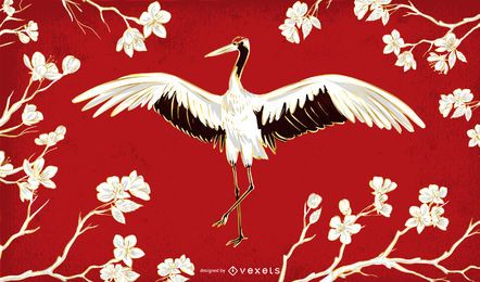 Beautiful Chinese Crane Illustration