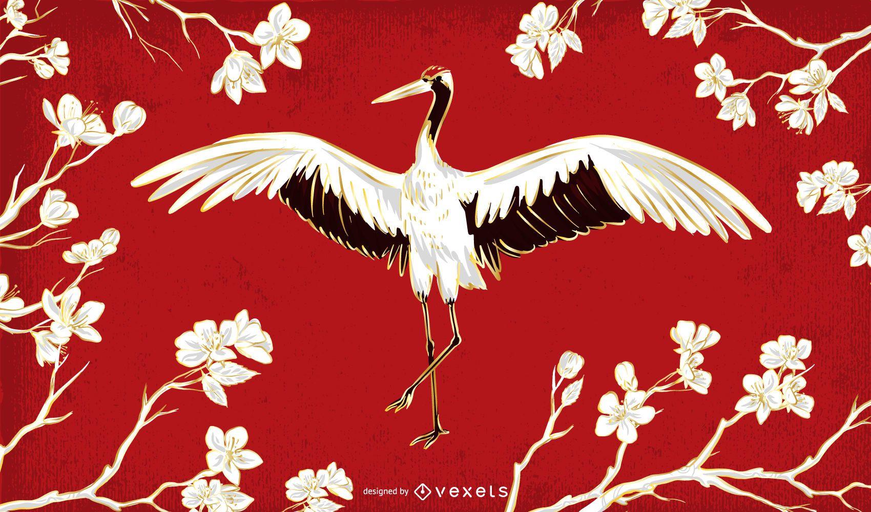 Beautiful Chinese Crane Illustration