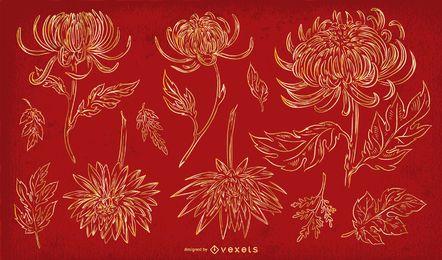 Chinesische Blumen Strichsatz