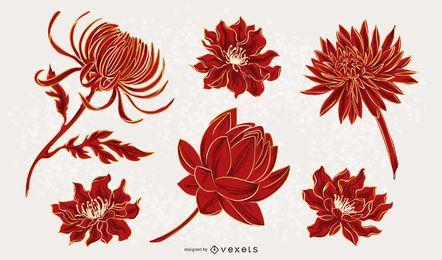 Chinesischer Blumen-Illustrationssatz