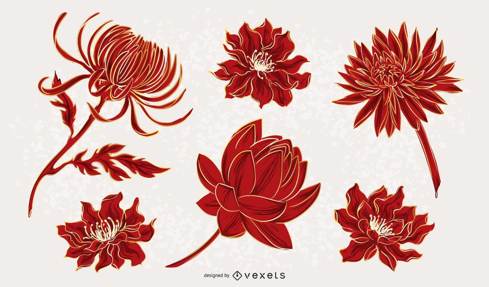 Pacote de ilustração de flores chinesas