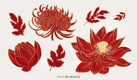 Conjunto de design de ilustração de flor chinesa