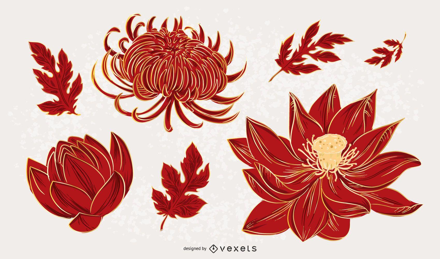 Conjunto de design de ilustração de flores chinesas