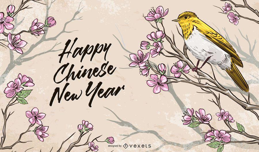 Ilustração do Ano Novo Lunar Chinês