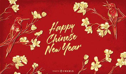 Ilustração floral de feliz ano novo chinês