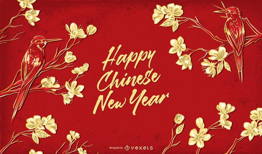 Feliz ano novo chinês floral ilustração