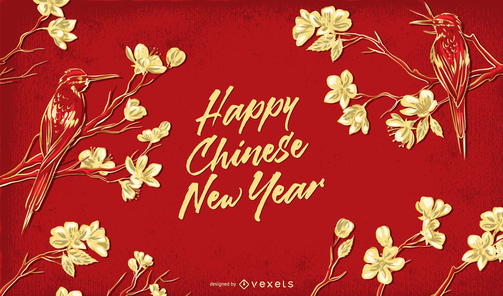 Happy Chinese New Year Floral Illustration