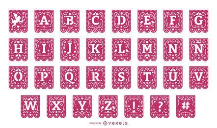 Conjunto de alfabeto guirlanda de dia dos namorados papercut
