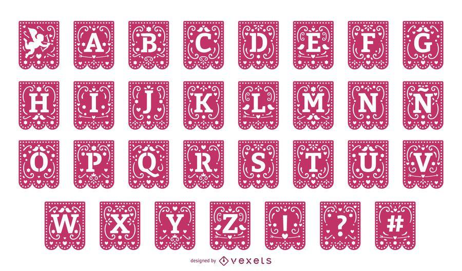 Conjunto de alfabeto de guirnalda de papercut de San Valentín