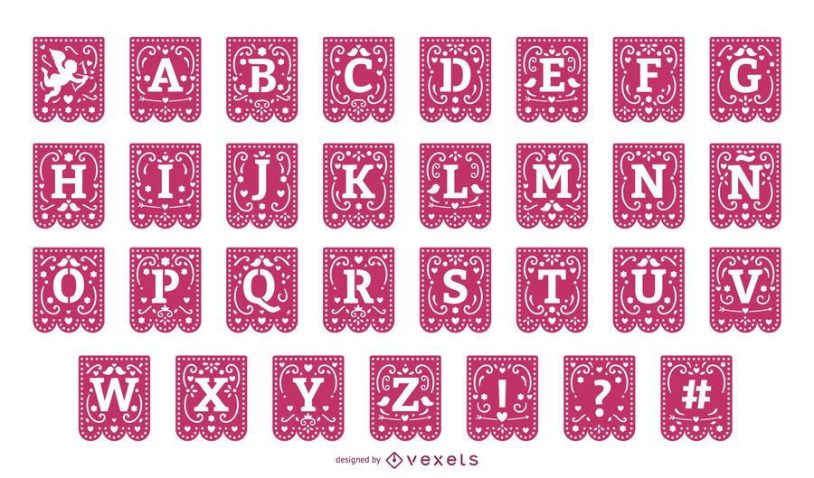 Valentines papercut garland alphabet set