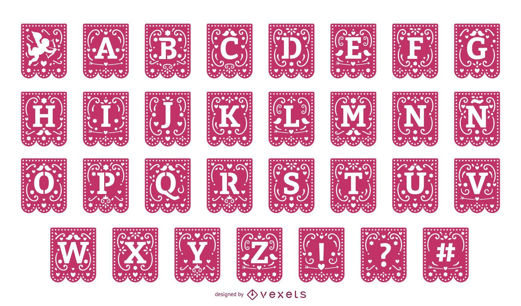 Conjunto de alfabeto de festão de papel de dia dos namorados