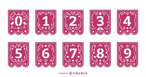 Conjunto de números de guirlanda de papercut de dia dos namorados