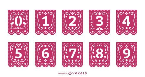 Conjunto de números de guirnalda de papercut de San Valentín