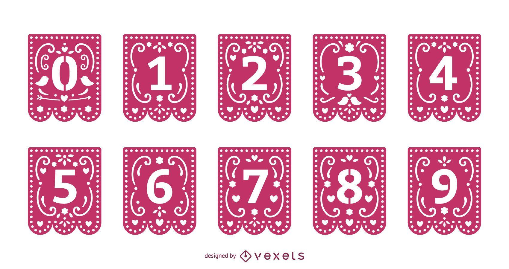 Valentines papercut garland number set