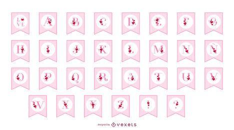 Conjunto de alfabeto banner dia dos namorados