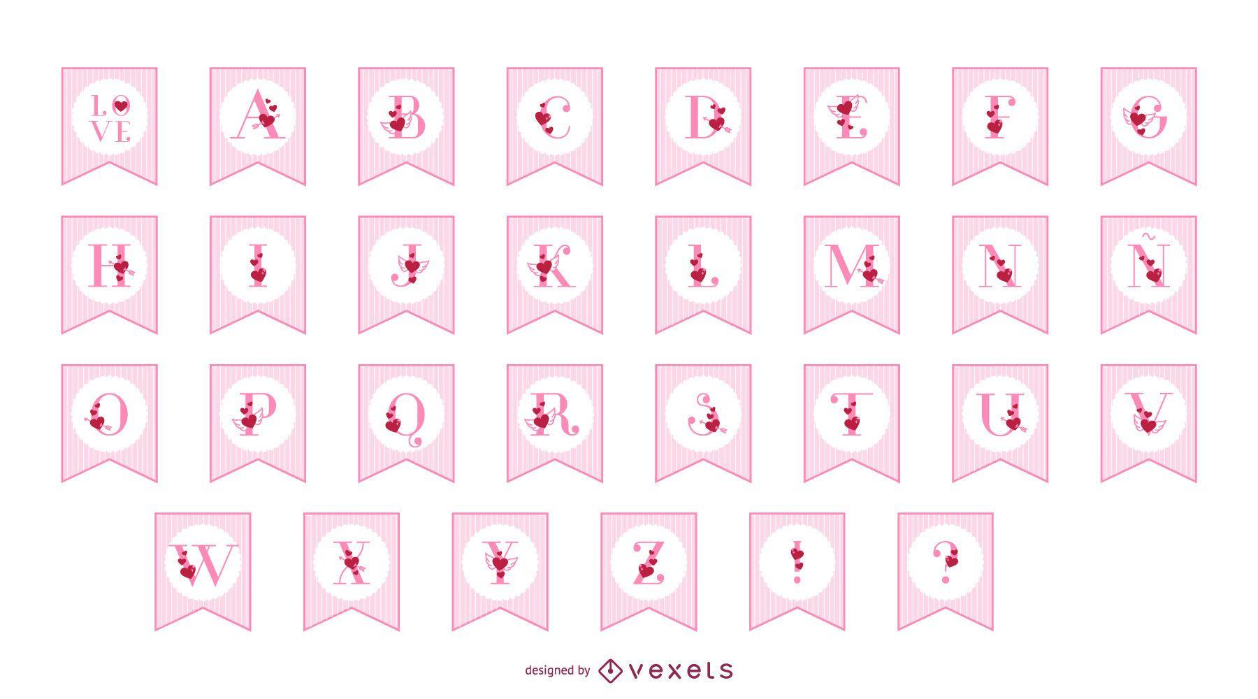 Conjunto de alfabeto do banner do dia dos namorados