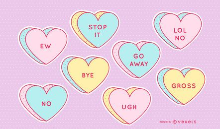 Conjunto de corações anti doce dos namorados