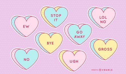 Conjunto de corazones de caramelo anti valentine