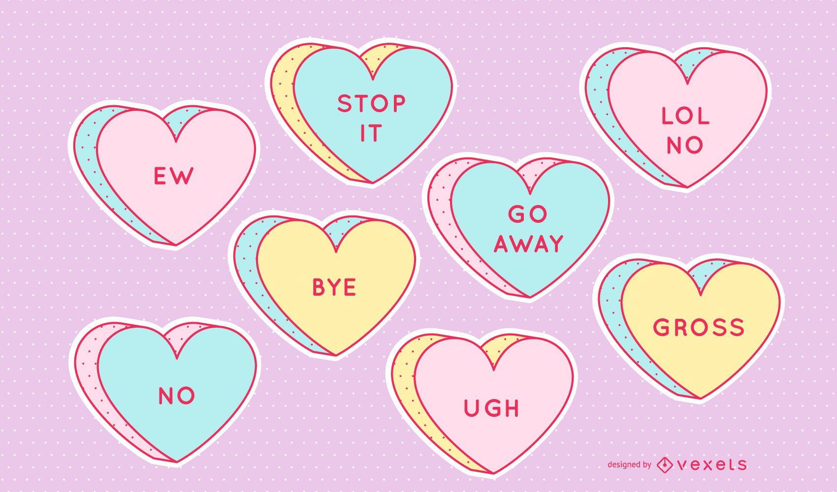 Conjunto de corações anti-dia dos namorados